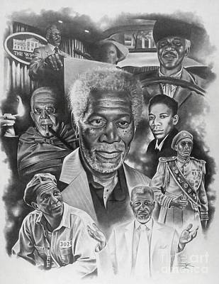Impact Drawing - Morgan Freeman by James Rodgers