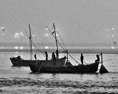 Photograph - Morning Ferry On The Ganges - Allahabad India by Kim Bemis