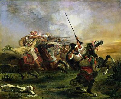 Horseback Painting - Moroccan Horsemen In Military Action by Eugene Delacroix