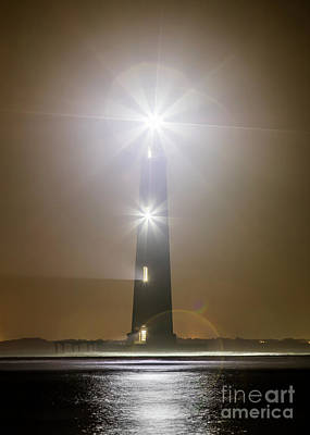 Photograph - Morris Island Light House 140 Year Anniversary Lighting by Dustin K Ryan