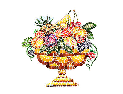 Mosaic Fruit Vase Art Print