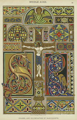 Jesus Drawing - Mosaic Patterns From The Middle Ages by German School