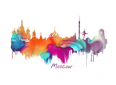 Moscow Skyline Digital Art - Moscow  by Justyna JBJart