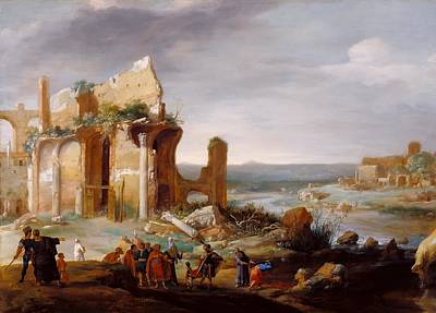 Change Painting - Moses And Aaron Changing The Rivers Of Egypt To Blood by Bartholomeus Breenbergh