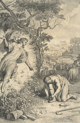 Drawing - Moses And The Burning Bush by Gerard Hoet