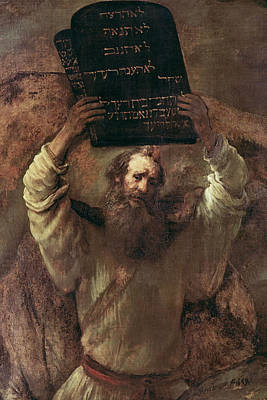 Ten Commandments Painting - Moses Smashing The Tablets Of The Law by Rembrandt