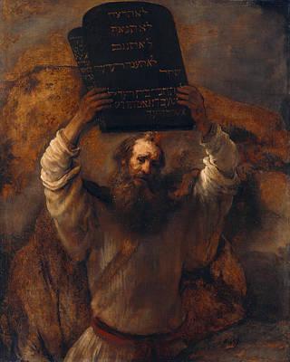 Moses With The Ten Commandments Art Print by Rembrandt van Rijn