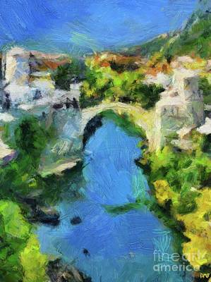Painting - Mostar Old Bridge by Dragica Micki Fortuna