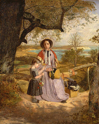 Painting - Mother And Child By A Stile With Culver Cliff Isle Of Wight In The Distance by James Collinson