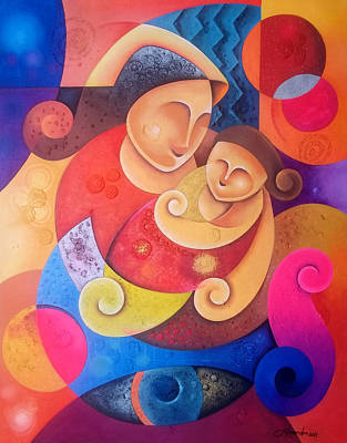 Abstract Mother And Child Painting - Mother And Child by Hermel Alejandre