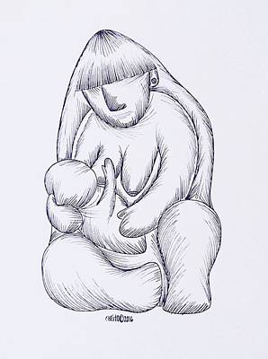 Taino Drawing - Mother And Child by Jose Guerrido jr