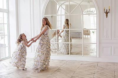 Mother And Daughter Dancing In The Mirror Art Print