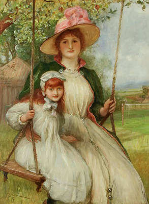 Mother And Daughter On A Swing Art Print