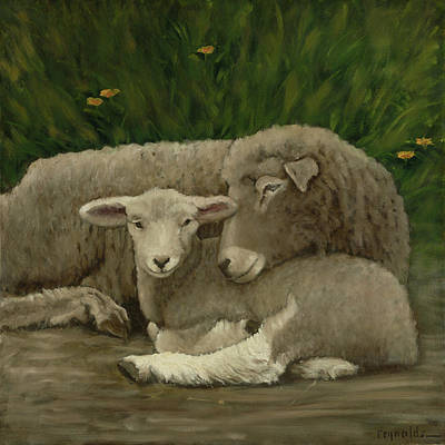 Sheep Wall Art - Painting - Mother And Lamb by John Reynolds