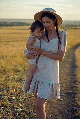 Tina Turner - Mother And Son Goes To The Field At Sunset by Elena Saulich