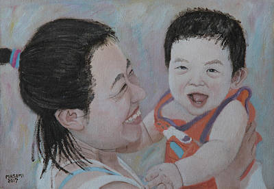 Painting - Mother And Son by Masami Iida