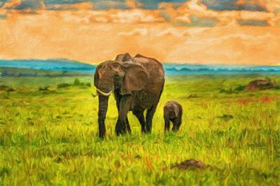 Park Scene Digital Art - Mother Elephant With A Baby by Miroslav Liska