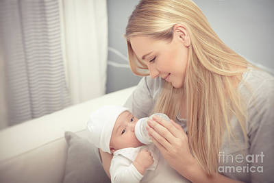 Photograph - Mother Feeding Her Baby by Anna Om
