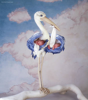 Print featuring the photograph Mother Stork by Anne Geddes