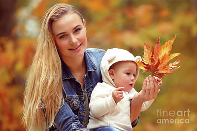 Photograph - Mother With Son In Autumn Park by Anna Om