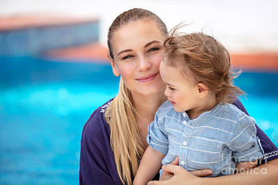 Photograph - Mother With Son Near Pool by Anna Om