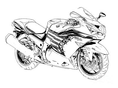 Drawing - Motorcycle Art, Black And White by Pablo Franchi