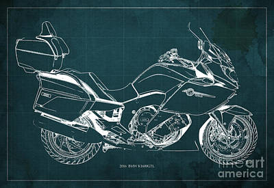 Bicycle Mixed Media - Motorcycle Bmw K1600gtl 2016 Original Blueprint Poster by Pablo Franchi