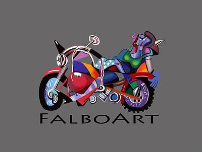Beer Paintings - Motorcycle Mama by Anthony Falbo