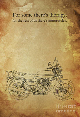 Motorcycle Quote. For Some There's Therapy Art Print by Pablo Franchi