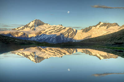 Snow. Mountain Photograph - Mount Aspiring Moonrise Over Cascade by Colin Monteath