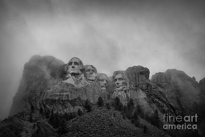 Politicians Royalty-Free and Rights-Managed Images - Mount Rushmore Break In The Clouds Pano BW by Michael Ver Sprill