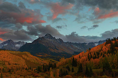 Art Print featuring the photograph Mount Sneffels Sunset During Autumn In Colorado by Jetson Nguyen