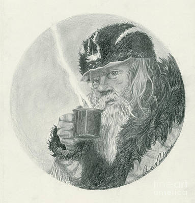 Dave Drawing - Mountain Man Self Portrait by David T Nelson