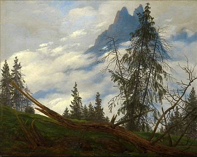 Painting - Mountain Peak With Drifting Clouds by Caspar David Friedrich