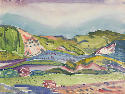 House Drawing - Mountain With Red House by Charles Demuth