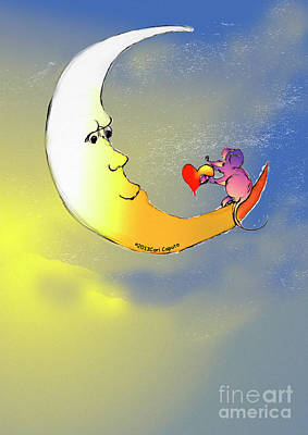 Digital Art - Mouse Loves Moon by Cori Caputo