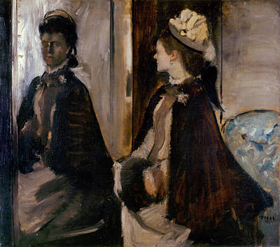 Glass Painting - Mrs. Jeantaud In The Mirror by Edgar Degas