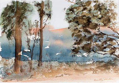 Painting - Mt Field Gum Tree Silhouettes Against Salmon Coloured Mountains by Dorothy Darden