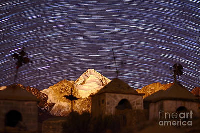 Snowy Night Photograph - Star Trails Above Mt Huayna Potosi And Milluni Cemetery by James Brunker