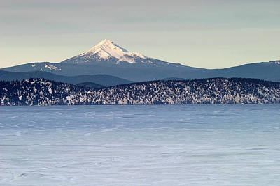 Photograph - Mt Mcloughlin And Frozen Klamath Lake At Sunset, Sky Lakes Wilderness, Oregon by Robert Mutch