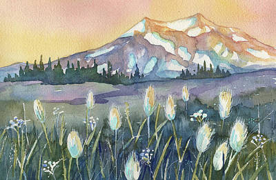 Painting - Mt Rainier Sunset by Peggy Wilson