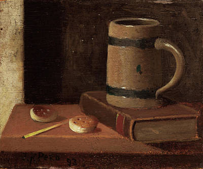 Painting - Mug, Book, Biscuits, And Match by John Frederick Peto