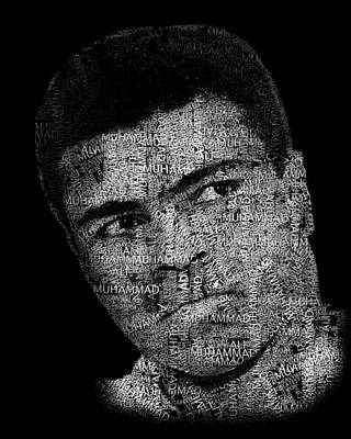 Boxer Digital Art - Muhammad Ali Or Cassius Clay Text Portrait - Typographic Face Poster by Jose Elias - Sofia Pereira