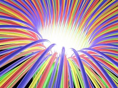 Multicoloured Light Ray Funnel, Artwork Art Print