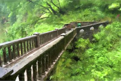 Painting - Multnomah Falls Bridge by Gary Grayson