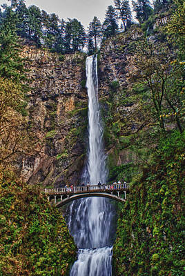 Mixed Media - Multnomah Falls by John Winner