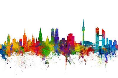 Michael Digital Art - Munich Germany Skyline by Michael Tompsett