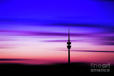 Print featuring the photograph Munich - Olympiaturm At Sunset by Hannes Cmarits