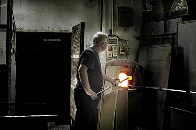 Photograph - Murano Glassblower At Work by Jean Gill