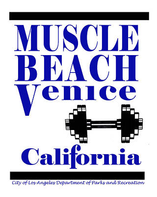 California Department Of Parks And Recreation Photograph - Muscle Beach Sign by Robert Hebert